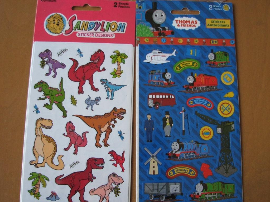 Stickers - Fairies, Thomas the Tank Engine, Dinosaurs, Cdn Flag Window Cling NIP