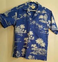 Helenas Hawaiian Islands Map Blue Shirt Size S Small Made in Hawaii USA - $39.60