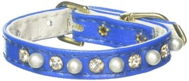 Mirage Pet Products 3/8-Inch Pearl and Clear Crystals Pet Collar, Size 8, Blue - $24.53