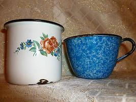 Vintage Enameled Rustic Cups Set of Two - $15.00