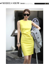 PF018 Elegant long slim a-line dress, sleveless, polyester, Size s,-xl, yellow - $28.80