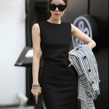 PF018 Elegant long slim a-line dress, sleveless, polyester, Size s,-xl, black - $28.80