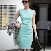 PF018 Elegant long slim a-line dress, sleveless, polyester, Size s,-xl, blue - $28.80
