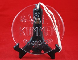 "CLEAR GLASS ""Valkommen"" (Welcome) SWEDISH 8"" SIGN WALL HANGING ART - $49.49"