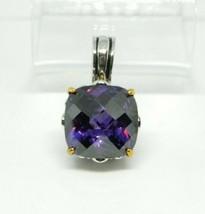 Purple Faceted Glass Large Rhinestone Dual Silver Gold Tone Filigree Pendant - $24.74