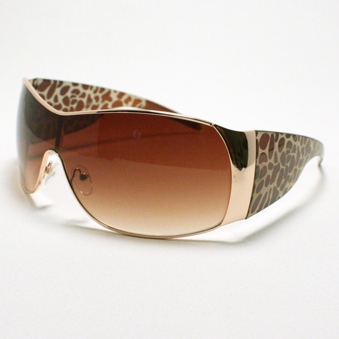 WOMEN'S Oversized Shield Style Sunglasses Animal Leopard Print GOLD Brown