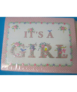 Baby Announcement It's A Girl 10 Cards & Envelopes Sweet Pink Flower Design - $6.94