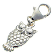 Sterling 925 British Silver Owl Charm Lobster Cip On Fit, by Welded Bliss - $17.33