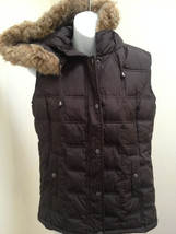 Gap S Vest Brown Quilted Puffer Hooded Faux Fur Trim - $18.61