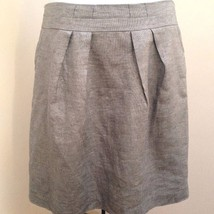 Talbots 12 Skirt Silver Gray Shimmer Linen Blend Pleated Party Holiday - $29.38