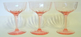 Pink Depression Glass Wine Glasses Crystal 3 Piece Set - $44.54