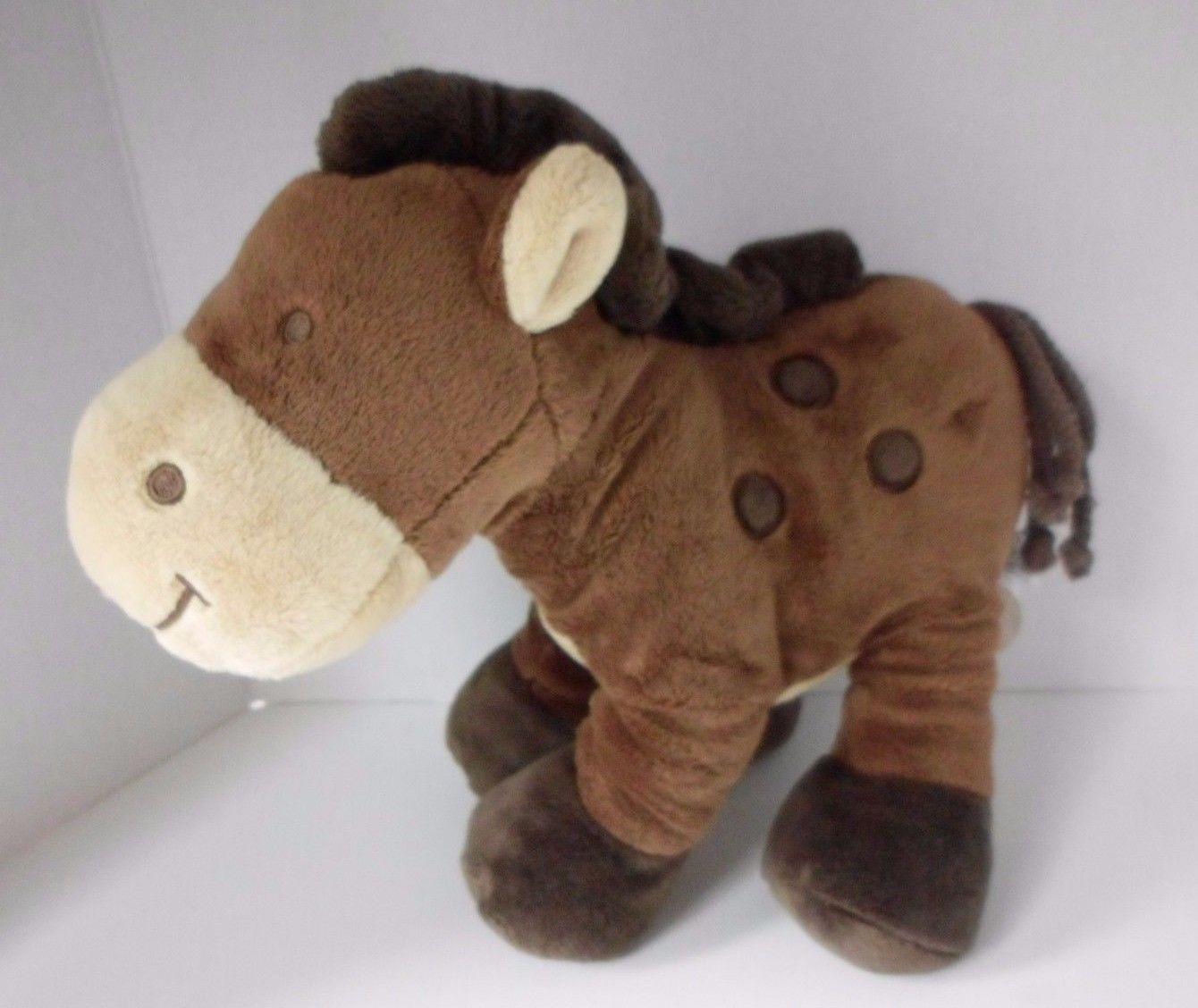 "Koala Baby Horse Plush 12"" Stuffed Animal Baby Rattle Lovey Brown - $19.55"