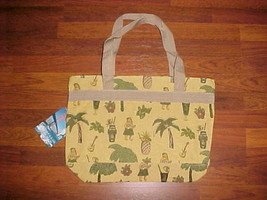 Bovano USA Company Hawaiian Theme Tiki Pineapple Palm Trees Guitars Tote... - $37.61