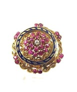 18k Yellow Gold Women's Vintage Cocktail Ring With Ruby Diamond And Enamel  - $979.90