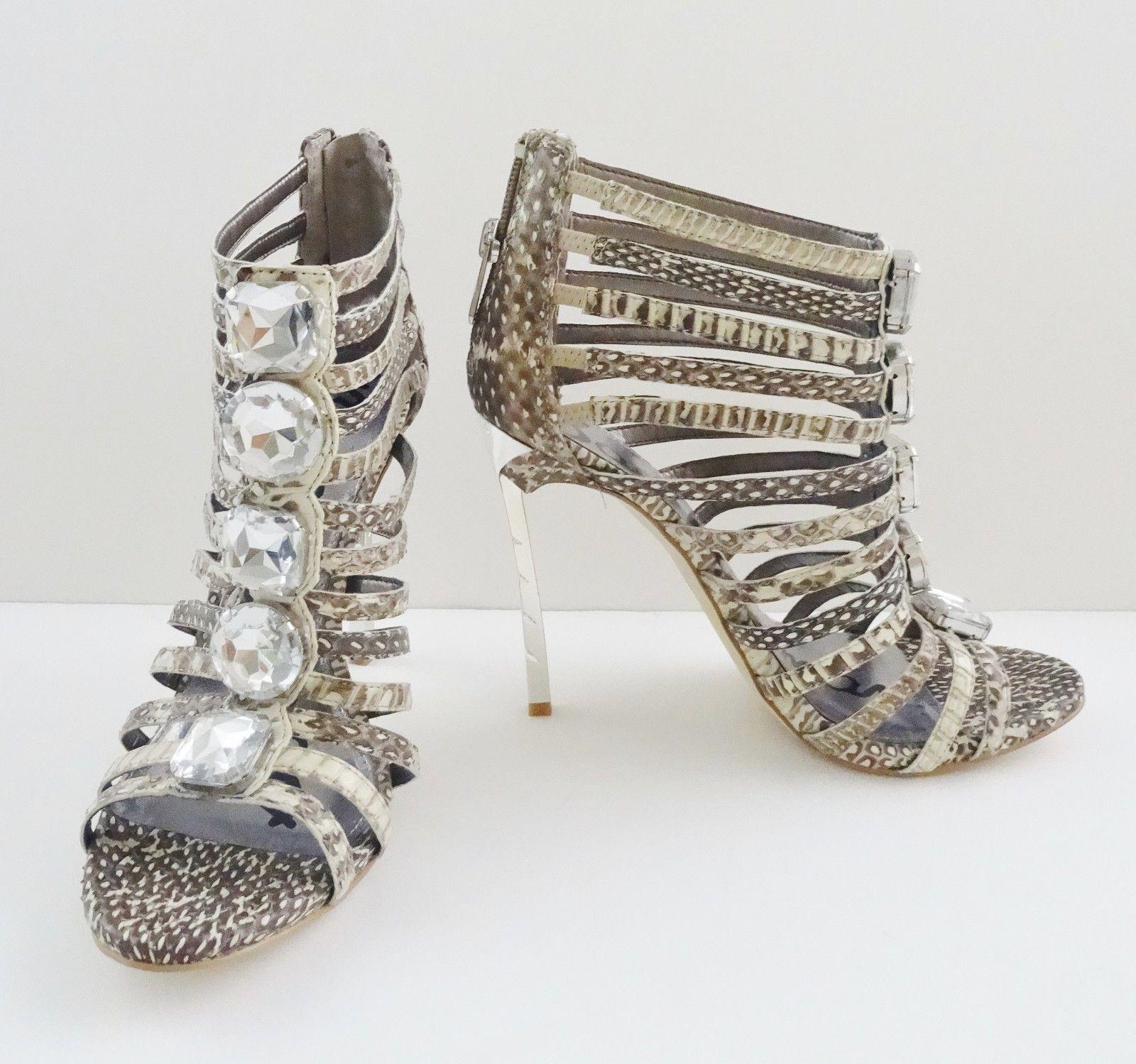 c060a63ae70d6 NIB Sam Edelman Hampton Ankle Caged Sandal Shoes Sz 7.5 M Sepia Snakeskin   170