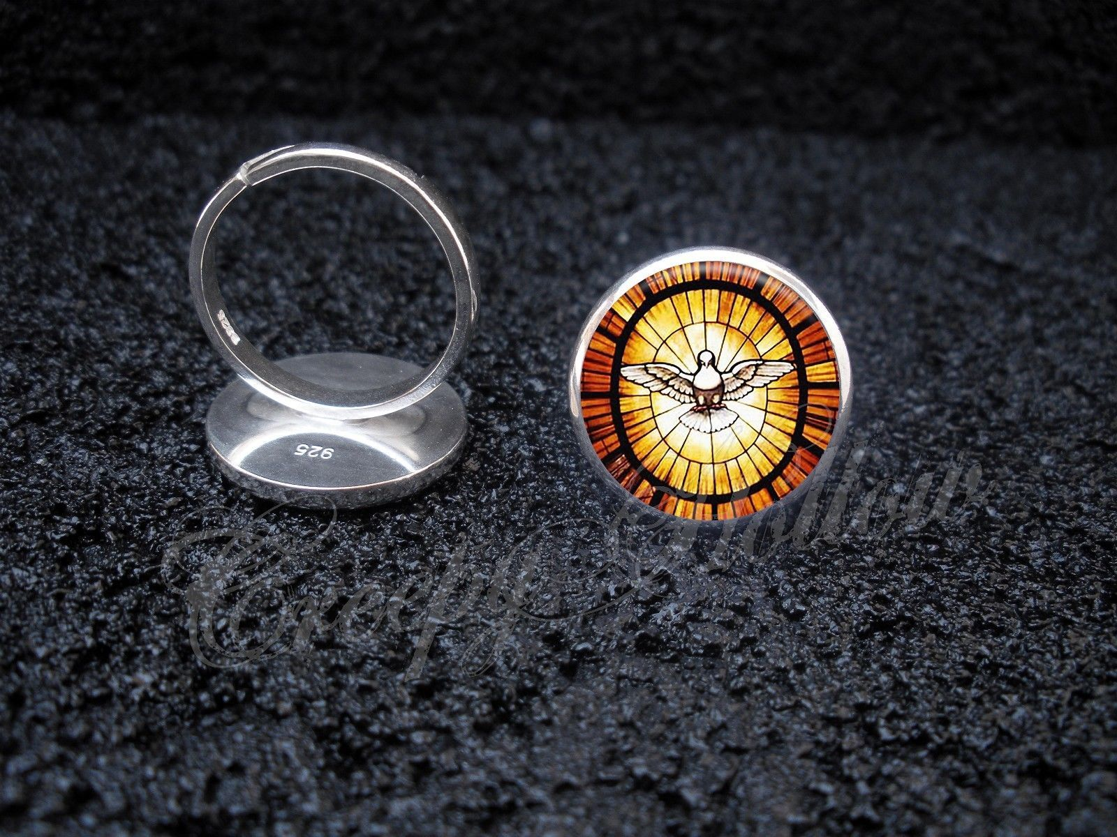 Primary image for 925 Sterling Silver Adjustable Ring Peace Dove Stained Glass Image