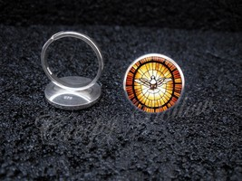 925 Sterling Silver Adjustable Ring Peace Dove Stained Glass Image - $34.65