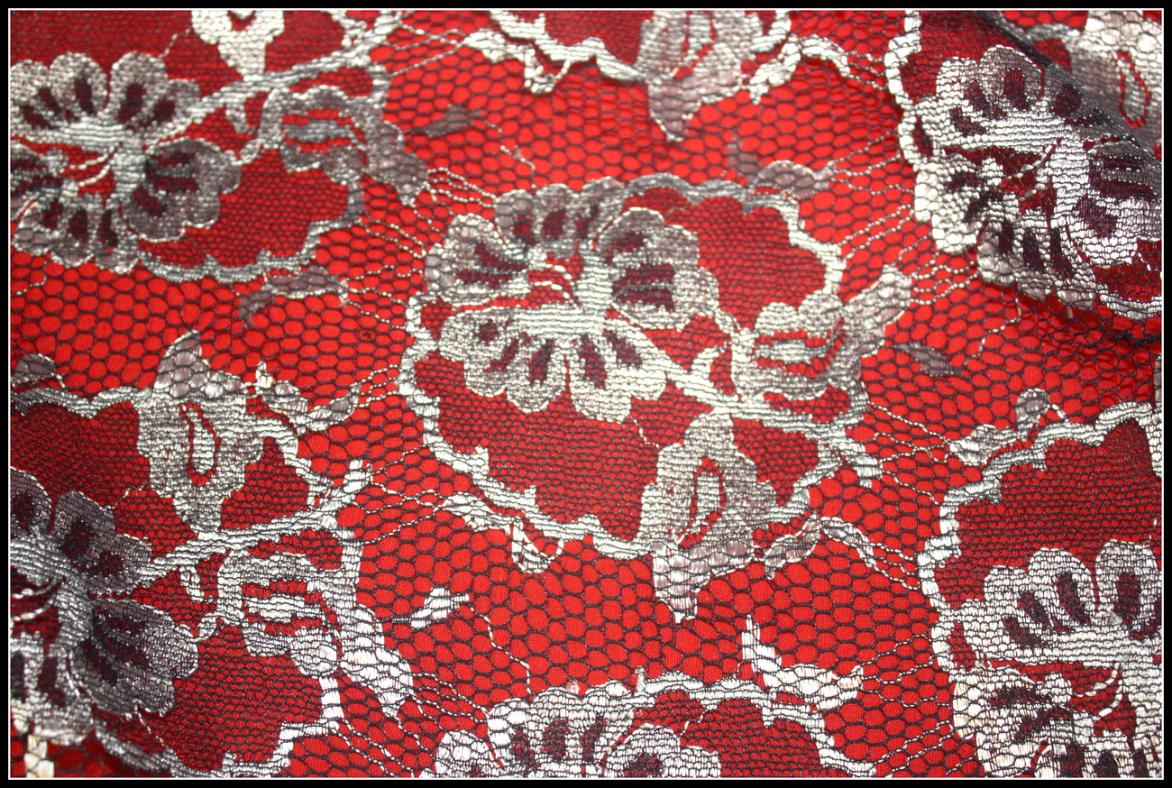 BLACK & LIQUID SILVER NET LACE IMPORTEDFRANCE FABRIC 60 WIDE SOLD BY THE YARD