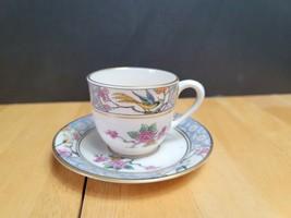 Lenox Ming Birds Demitasse Flat Cup & Saucer (1) Birds Floral Black Back... - $8.86