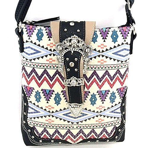 Western Rhinestone Buckle Sequins Aztec Print Messenger Bag Cross Body Purse (Bl