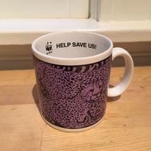 "Purple Cheetah Leopard Print ""Please Save Us"" WWF Coffee Mug - $14.00"