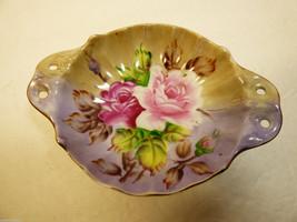 Vintage Lefton Hand Painted China Roses purple Gold trim bowl dish w han... - $31.68