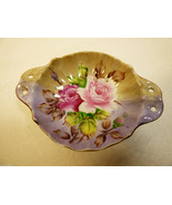 Vintage Lefton Hand Painted China Roses purple Gold trim bowl dish w han... - $31.68