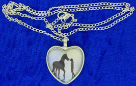 Horse Best Friend Heart Necklace Cabochon Game Chain Length Choice - $5.99+
