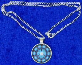 Iron Man Arc Reactor Necklace Tony Stark Cabochon Chain Style Length Choice - $4.99+