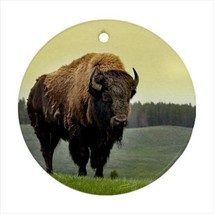 American Bison Round Porcelain Ornament - Holiday Seasons - $7.71