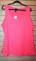 New Womens Plus Size 3 X Neon Fuschia Pink Brushed Soft Layer Tank Top Shirt - $19.34