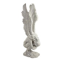 High Rated Elegant White Resin Faux Stone Kneeling Naked Angel Wings Up ... - $61.12