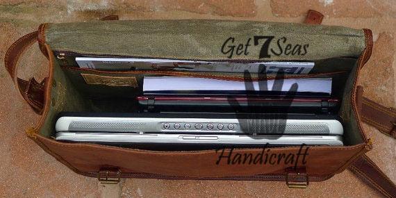"""16"""" Men's Vintage Brown Leather Satchel Messenger Bag Shoulder Laptop Briefcase"""