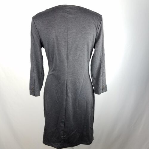 Old Navy Fitted Dress Womens Size M Medium Gray Above Knee Button 3/4 Sleeve