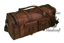 """26"""" Large Aircabin Men's Retro Genuine Leather luggage Travel Duffle Gym Bag - $124.42"""