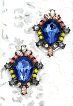 Women new royal blue diamante ornate stud pierced earrings - $25.63 CAD