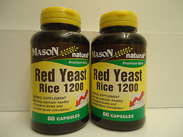 PACK OF 2 60 capsules RED YEAST RICE 1200 mg / 2 CAP lower cholesterol 6... - $14.65