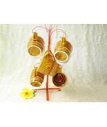 Mug Set Tree Stand 6 Vintage Glaze Ceramic Honey Yellow Scroll Swirl Cof... - $30.00
