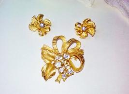 Gold Bow Rhinestone Earring Brooch Set Vintage Goldtone Metal Bow & Leaf... - $35.00
