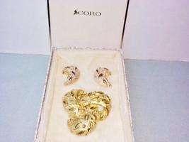 Coro Gold Knot Brooch & Earring Set Vintage Pin Set Gold Metal Demi Parure - $25.00