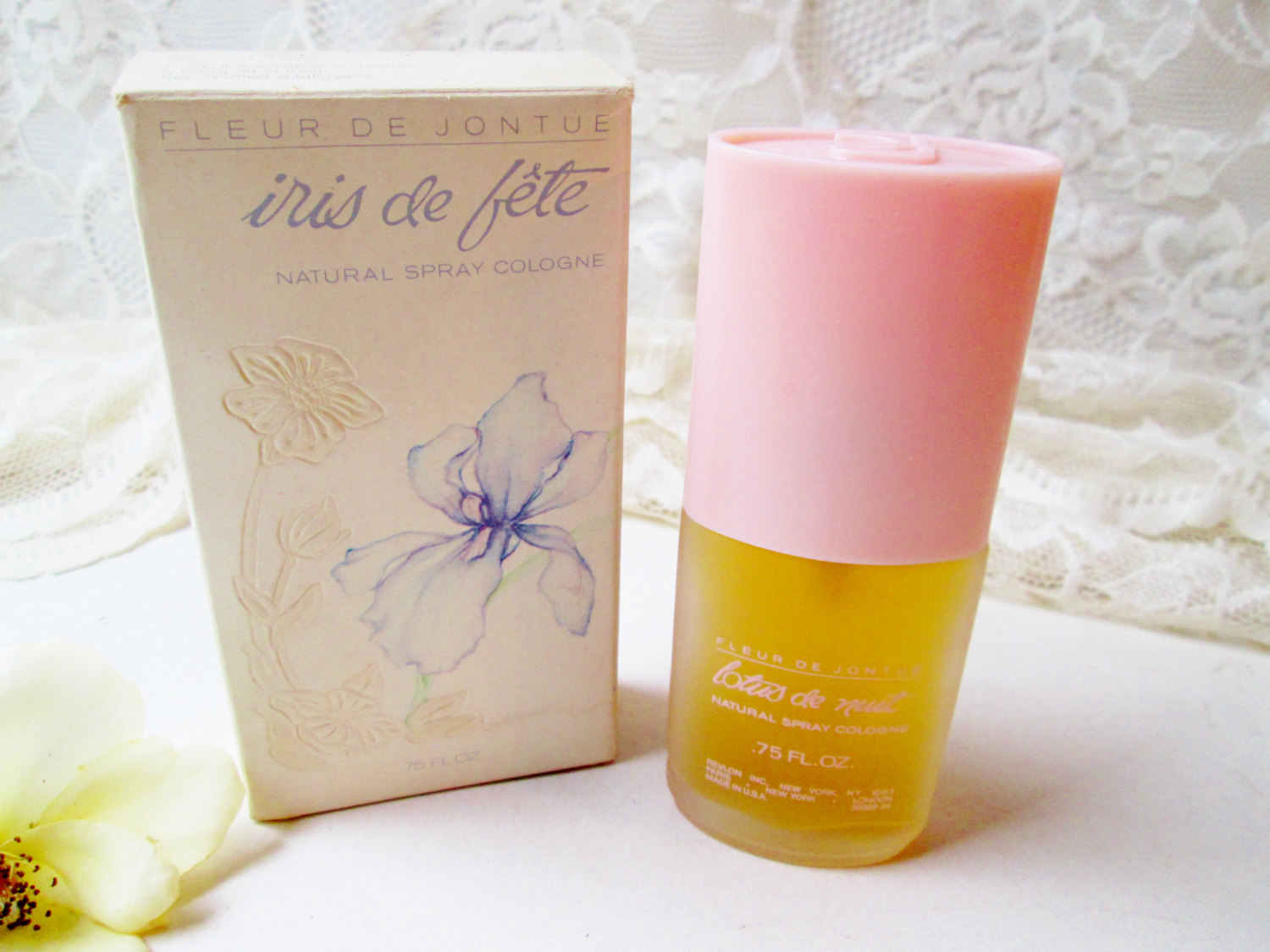 Lotus De Nuit Perfume Spray Vintage Fleur De Jontue Revlon .75oz Natural Spray