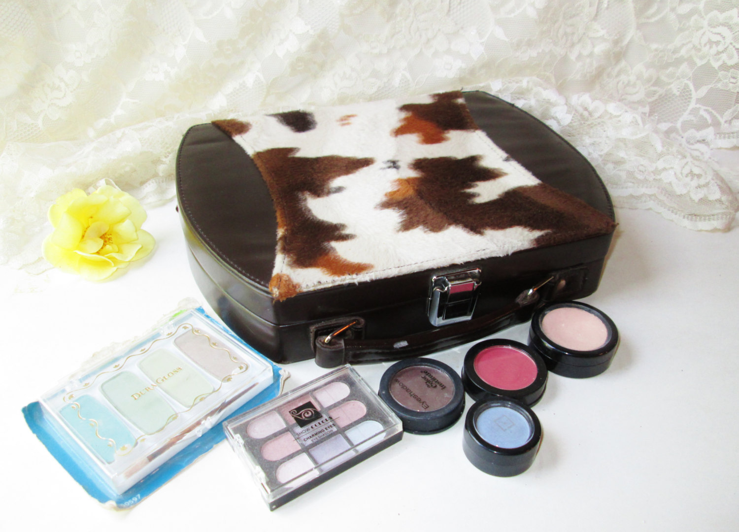 Makeup Cosmetic Travel Case Vintage Uinsex Country Western Horse Print Fur Lg Pa