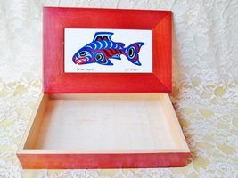 Deocrative Wood Box Vintage Salmon Legend Porcelain Lid Top Collectible ... - $47.00