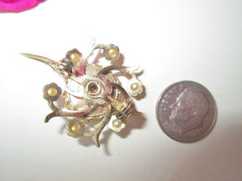 Coro Marie Antoinette Brooch Vintage Cameo Pin Gold w Pearls Dot Style Portrait  image 3