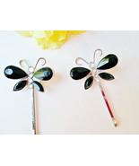 Butterfly Hair Pins Set Vintage Bobby Bob Pins Black Crystal Clear Rhine... - $25.00