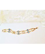 Gold & Blue Glass Bracelet Vintage New Triangle Gold Links Round Blue Gl... - $20.00