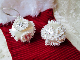 "Christmas Wedding White Ball Ornaments Vintage Handmade Silk 9"" Pin & Pearl - $56.00"