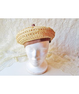 Straw Beret Vintage Lady Hat Tam Ornate Woven Straw Tan Brown Grosgrain ... - $108.00