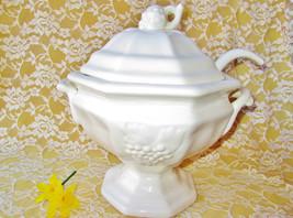 Soup Tureen Set Bowl Ladle Lid Vintage Porcelain Ceramic Antique Grape Design Ca - $135.00