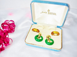 Trifari Signed Gold Interchangeable Earring Set Vintage 3 Multi Color Ho... - $73.00